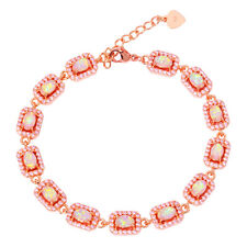 Pink Opal Pink Topaz Silver Rose Gold Filled Women Jewelry Chain Bracelet OS573