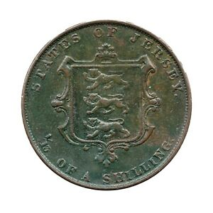 KM# 3 - One Thirteenth of a Shilling - Victoria - Jersey 1861 (EF)