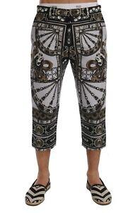 NEW $880 DOLCE & GABBANA Pants Capri Trousers Dragon Cotton Linen s. IT46 / W32