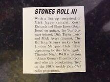b1s ephemera music reprint article 1962 rolling atones london marquee debut