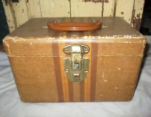SHABBY Vintage TWEED STRIPED  BROWN TRAIN CASE  SUITCASE 1940s Travel Luggage