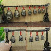 Chinese Musical Instrument Bronze Meditation Gong with 7 Ornate Bell Set  .