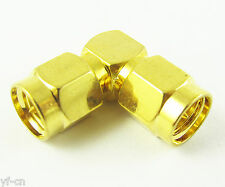 100pcs Gold Plated SMA RF Coaxial Male to Male Right Angle 90D Connector Adapter