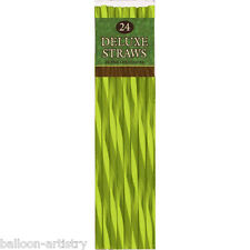 24 Deluxe Tropical Green Island Palms Party Drinks Straws Luau BBQ Cocktail