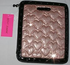 NWT $68 pink BETSEY JOHNSON tablet e-reader case SEQUINS & HEARTS Blush NEW
