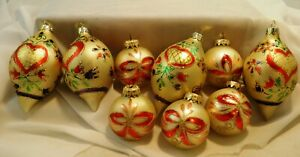 """Set of 9 Hand Blown Hand Painted Vintage Christmas Ornaments Red & Gold 4"""" & 2"""""""