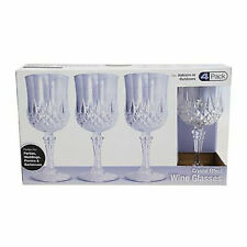 4Pcs Vintage Crystal Wine Glasses Plastic Picnic Marine Acrylic Garden Goblet
