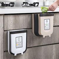 6/9L Wall Mounted Folding Waste Bin Kitchen Cabinet Door Hanging Trash Can Bin