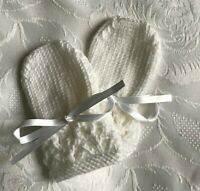 New Hand Knitted Baby Boy's or  Girl's White Mittens,  Fits 0-3 Months