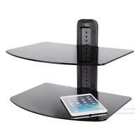 Double 2 Tier Floating Glass Shelves for DVD SKY BOX TV Wall Mount Bracket Black