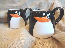 CERAMIC BLACK & WHITE PENGUIN COFFEE CUPS MUGS~Set of 2 LRG VOL NON SPILL DESN