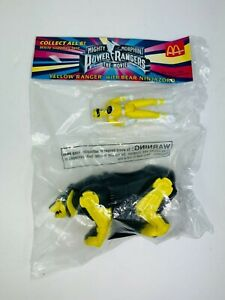McDonalds Mighty Morphin Power Rangers Movie YELLOW Ranger Figure NinjaZord NOS