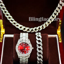Men Hip Hop Lab Diamond Bling Red Face Watch & Iced Cuban Bracelet & Necklace