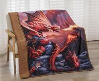 New Fire Breathing Dragon Plush Throw Gift Blanket Sherpa Dragons Babies Baby