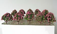 10 x PINK GREEN MODEL TREES 6 cm SCENERY FOR MODEL RAILWAY HO / N / Z SCALE #22