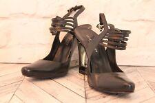 KAREN MILLEN Black Strappy Leather Wedge Court Pumps High Heels RRP £160 EU39