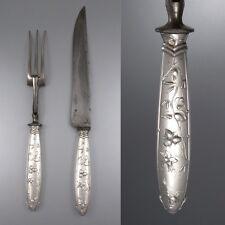 Antique French Art Nouveau Silver Carving Set, Paris, Hazel Nut and Cattails