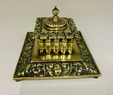 Antique Heavy Brass Desk Inkwell circa 1910
