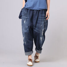 Lady Drop Crotch Denim Trousers Pants Loose Jeans Harem Hippy Distressed Ripped