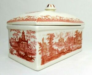 19TH C ANTIQUE RED TRANSFER RECTANGULAR PORCELAIN BOX, W/COVER & IMPERIAL STAMP