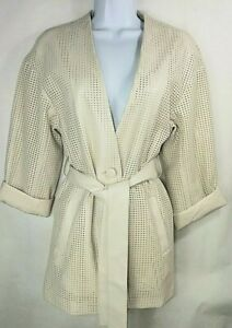 ZARA Off White Perforated Faux Vegan Leather Belted Jacket Blazer Womens Size XS