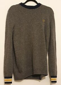 Mens Grey Jumper with blue collar, Fred Perry, Size M lambs wool