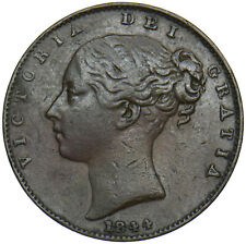 More details for 1844 farthing - victoria british copper coin - nice