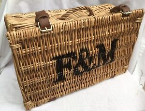 FORTNUM & MASON F&M EMPTY WICKER HAMPER BASKET LEATHER STRAPS 40 x 24 x 17cm VGC