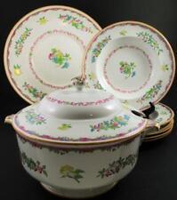 """""""ALMA"""" - antique MINTON soup TUREEN + 6 BOWLS & Underplate - Floral Decor c.1916"""