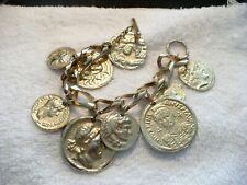 AAG-  RUSSIAN GREEK OR SOUVENIR COINS BRACELET (GOLD-TONE)   #605