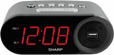 Sharp Electric Digital Alarm Clock With Usb Charging Port Led Large Display New