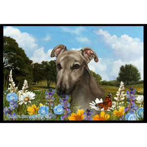 Greyhound Summer Flowers Floor Mat