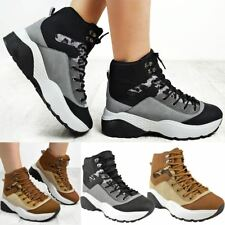 Womens Ladies Lace Up Winter Hiking Boots Shoes Army Military Walking Sneakers