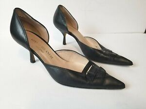 Gianni Milanesi Italy Women Pumps heels 7 Black Pointed Toe Stiletto Leather 37