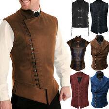 Men's Medieval Vest Renaissance Victorian Punk Waistcoat Vintage Gothic Tailcoat
