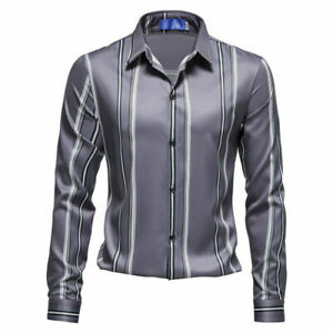 Mens Dress Shirts Long Sleeves Slim Fit Striped Casual Multicolor Shirts Tops