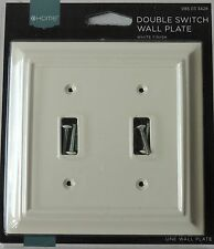 New Sealed White Finish Decorator Double Wall Switch Oulet Cover Plate 39652