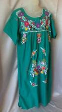 BOHO Vintage OAXACAN MEXICAN EMBROIDERED COTTON CAFTAN TUNIC FESTIVAL DRESS