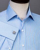Thin Blue Stripe Formal Business Dress Shirt White Men's Classic French Cuff Top