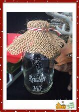 Santa's Reindeer Milk Bottle For Christmas Eve Etched Glass 100ml