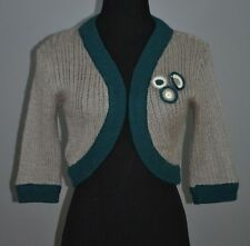 Women Zara Sweater Bolero Cardigan 3/4 Sleeves Gray Green NWOT Size M