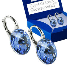 925 Sterling Silver Earrings *Light Sapphire* Genuine Crystals from Swarovski®