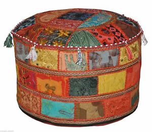 """14X22"""" Vintage Round Footstool Cover Indian Throw Ethnic Patchwork Ottoman Pouf"""