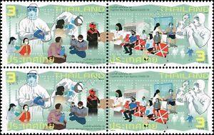 """Together we fight against """"CORONA"""" -BLOCK OF 4- (MNH)"""