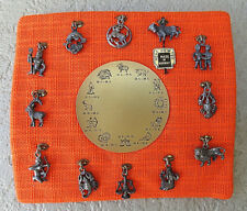 Vintage 1970'S Pewter Zodiac Figures Pendant Set Display Complete Made In Norway