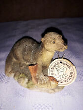 Vintage 1960s Golden Rose Giftware Otter with Fish Figurine/Ornament - 7cm High