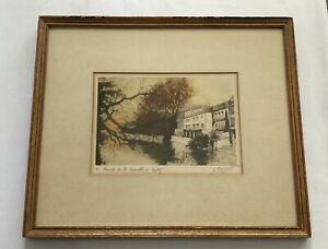 Antique Henri Moricet French Colored Etching Moselle River at Metz Lorrainne