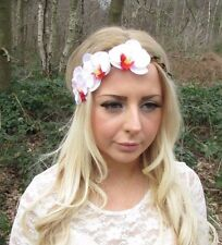 White Pink Orchid Flower Garland Headband Hair Crown Festival Boho Hairband 2539