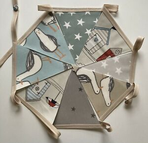 Handmade Oilcloth Bunting, Garden/Home Seaside 2 Meters Double Sided
