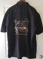 World Wide Sportsman Mens Black Button Down Embroidered Short Sleeve Shirt XL
